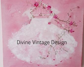 Shabby-Pink-Roses-Tutu-Painting-Wall Art-Chic-dress-