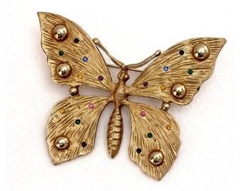 Vintage 80s Sparkle Butterfly Brooch