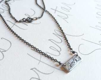 love talisman necklace . simple silver necklace . sterling silver charm necklace . layering bar necklace . ready to ship gift for her