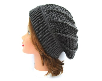 Gray Hat with Folded Brim - Women's Hat - Crochet Beanie - Slouchy Hat - Warm Headwear - Women's Accessories