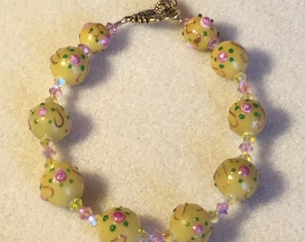 Spring Yellow and Pink Glass Bracelet