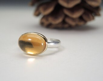 Citrine Ring in Sterling and 18kt Gold