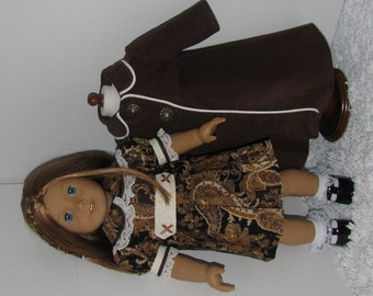 Brown Paisley Dress and Coat Set, Fits 18 Inch American Girl Dolls