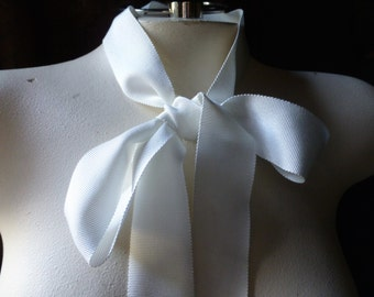 2 yds. 30mm WHITE Ribbon Grosgrain Faille Petersham for Bouquets,  Millinery, Invitations