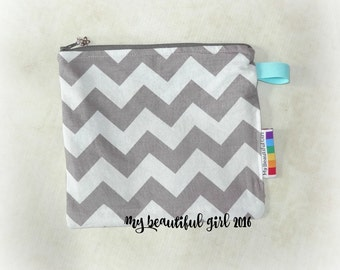 Grey Chevron Zippered & Waterproof, Mini Wetbag, 6x8- INSTOCK
