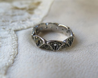 French Deco Silver and Marcasite Ring Size 6 Art Deco Vintage 1920's