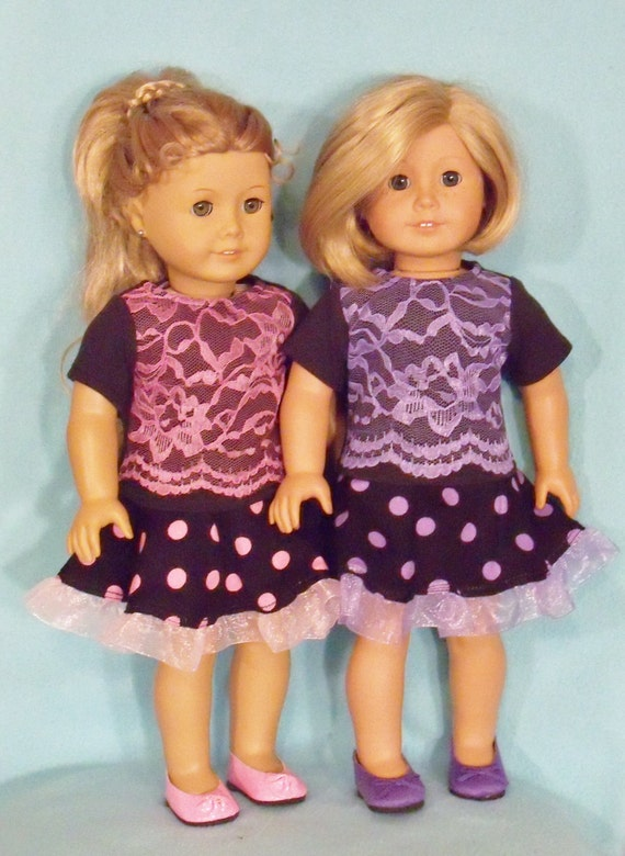 American Made 18 inch Doll  Skater Polka Dot Skirt & Lace Front Top