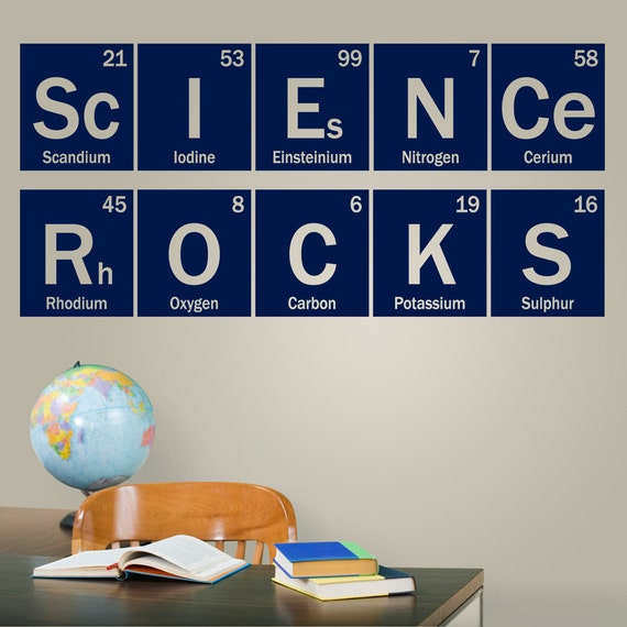 High School Biology Classroom Decorations ~ Science rocks periodic vinyl decal wall