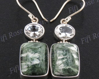"1 7/16"" 8ct White Quartz Seraphinite 925 Sterling Silver Earrings"