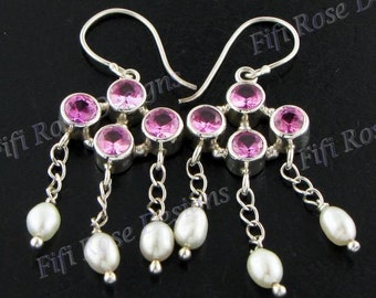 "1 1/4"" Pink Quartz Freshwater Pearl 925 Sterling Silver Earrings"