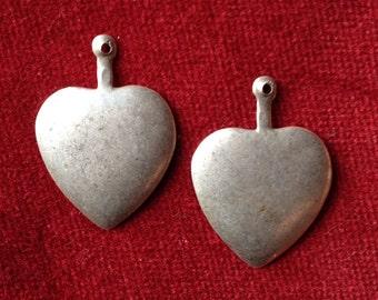 Antique french metal heart amulet, talisman, pendant lot of 2