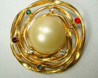 Brutalist Modern Pearl Center Gold Brooch with Colorful Rhinestones, Like Saturn with Rings and Space Race Stars,  1970s Pin