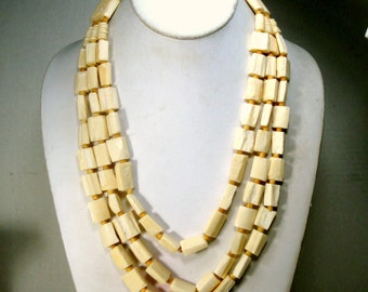 Tribal 3 Strand Rectangular OxBone Bead Necklace, Primitive Natural Cream Color Multistrand , Lovely Buttery White Color 1980s