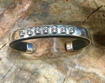 C51 Seven Silver Skulls Sterling Silver Inlayed on Leather Southwestern Native Style Cuff