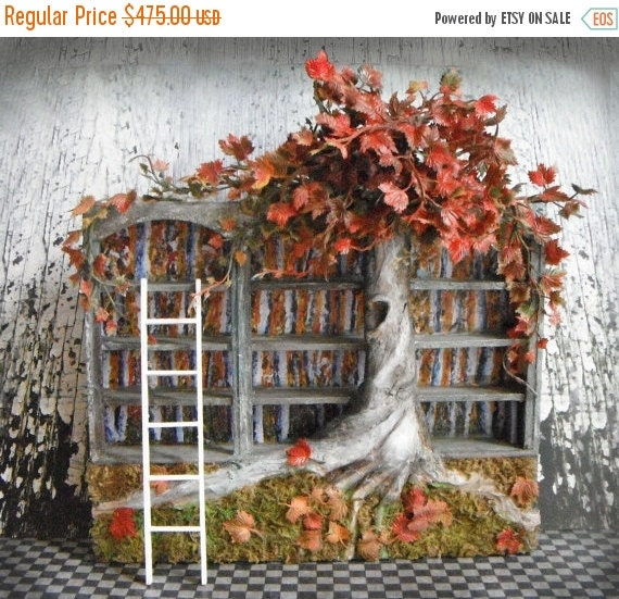 ON SALE Miniature Fall Blossoms Bookshelf