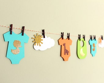 Baby Shower Garland Kit - (Unisex) - wishes for baby banner, advice cards, onesie paper garland