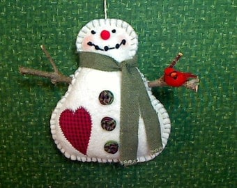 SIZE 5 | Primitive Snowman Ornament with Cardinal | Tree Ornament | Gift | Holidays | Winter Decor | Holidays | Christmas | Handmade |  #1