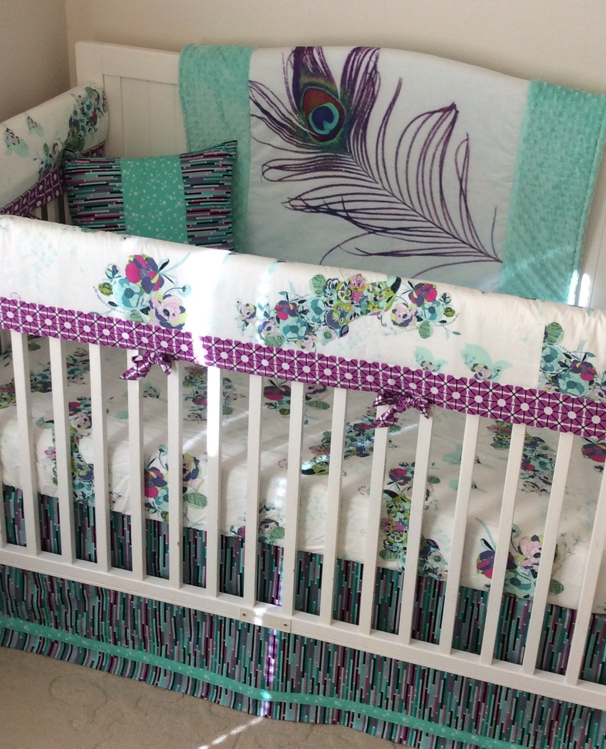 Baby Girl Crib Bedding Set Teal Purple Mint Peacock Made To