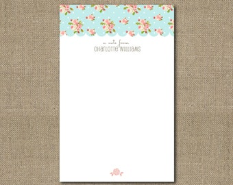 Personalized Aqua Notepad with Sweet Pink Roses and Scallop Details 5.5in x 8.5in Teacher Gift Coworker Gift Tween Gift or Teen Girl Gift