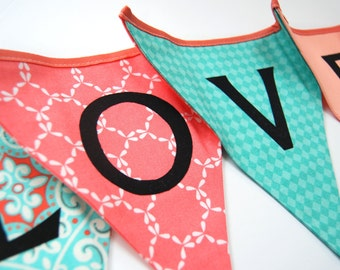 LOVE Wedding Bunting Garland in Coral, Aqua Blue, Peach - Banner Flags, Photo Prop Decoration - Photobooth, Bridal Shower - Reusable, Fabric