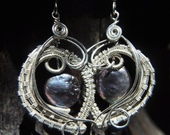 Wire Woven Black Pearl Earrings