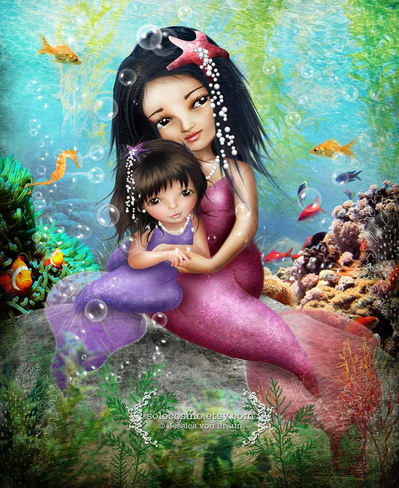 "Fine Art Print - ""Water Baby"" - Little mermaid mother and daughter illustration - 11x17 or 13x19 Art Print by Jessica von Braun-Pink Purple"