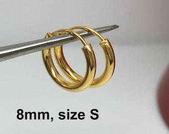 Luminous gold cartilage hoop earring, men's hoop earrings, small gold hoop earring, cartilage earring, helix  554Y