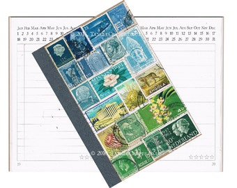 Blue Green Abstract Landscape Journal - Original Stamp Art Collage