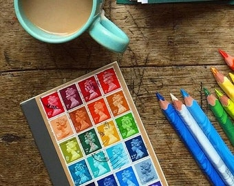 Rainbow A6 Notebook, Postage Stamp Journal | multicolour writing book | Recycled Upcycled British Stamp Mosaic | lgbt penpal philately gift