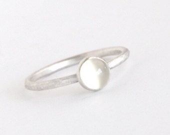 Plumeria - White Moonstone and Sterling Silver Ring