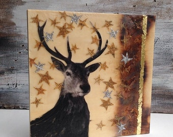 Holiday DEER Original Encaustic Mixed Media Painting Vintage Paper Art Stag Nature Rustic Forest