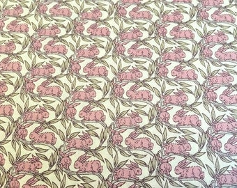 liberty of london - tana lawn cotton - limited edition print - cotton tail - soft rose pink and light olive green