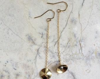 Long Gold Chain Earrings. Tiny Bell Earrings. Golden Brass Dagles. Dainty Earrings. Shoulder Dusters. Long Gold Chain. Gold Filled Earrings