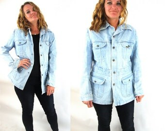 vintage denim jacket / light color / long / lee