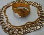 Gold jewelry collection clamper bracelet chunky necklace serpentine chain lot