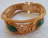 Gold Mesh Bracelet 3 strands with Jade green stones elegant jewelry