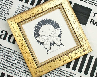 5x5 or 6x6 inch Antiqued Rusty Gold Photo Frame with Inner Gold Boule Slip Square  Instagram/Office Desktop/Wedding Rusty Gold Photo Frame