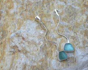 Argentium sterling genuine sea glass earrings