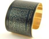 Jane Austen Gift - Persuasion Literary Quote Brass Cuff Bracelet - Anniversary Gift - Bookworm - Literature - Book Lover - Gift for Her