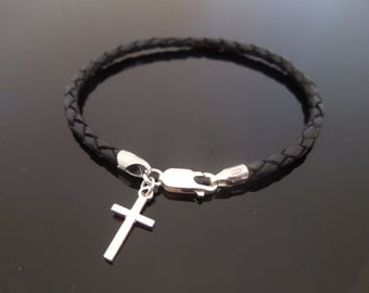 3mm Black Braided Leather Bracelet With 925 Sterling Silver Plain Cross Charm