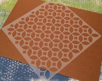 Square 8.5 inch stencil - Retro 3
