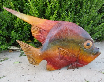 Wood Carving Carved Wooden Tropical Fish Statue Sculpture Decor Large Rainbow Fish Decoy