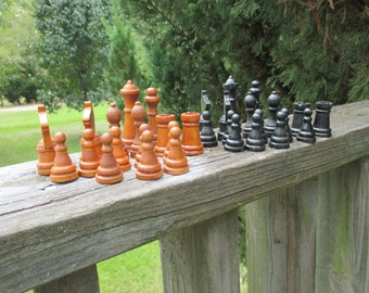 Vintage 32 Wooden Chess Pieces--Old 16 Black and 16 Brown Chess Pieces--