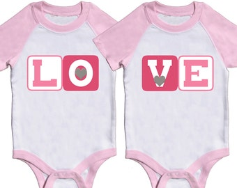 Girl Twin Bodysuits Valentine Twin Rompers by Mumsy Goose Sibling Shirts Pink Rompers