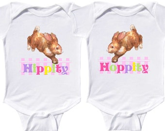 Twin Girls Easter Bodysuits Bunny Rompers by Mumsy Goose  Newborn Rompers to Kids Shirts
