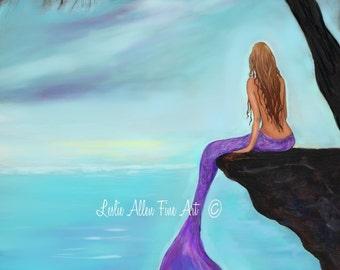 """Mermaid ART PRINT GICLEE Mermaids Wall Art Mermaid Theme Mermaid Decor Painting Art  """"Mermaids Beautiful Oasis"""" Leslie Allen Fine Art"""