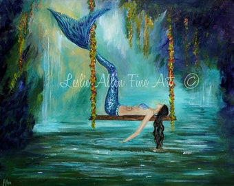 "Mermaid Art Print Mermaids Wall Art Mermaid Theme Wall Art Decor Fantasy Lagoon Serene Calming ""Lazy Lagoon Day"" Leslie Allen Fine Art"