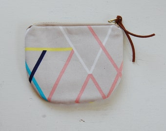 Geo Lines Padded Round Zipper Pouch / Coin Purse / Gadget / Cosmetic Bag - READY TO SHIP