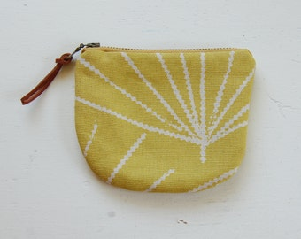 Zig Lines on Yellow Padded Round Zipper Pouch / Coin Purse / Gadget / Cosmetic Bag - READY TO SHIP