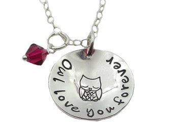 Hand Stamped Owl love you forever Necklace with Birthstone, Sterling Silver